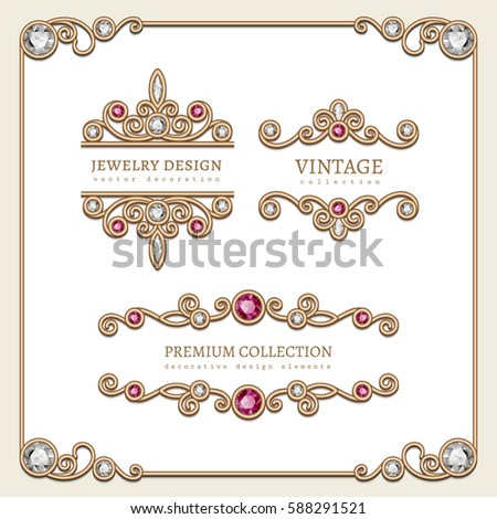 Vintage gold jewelry vignettes flourishes square stock vector vintage gold jewelry vignettes and flourishes in square frame set of decorative jewellery design elements stopboris Images