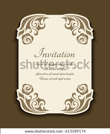 Vintage Gold Rectangle Frame With Floral Corner Decoration And Cutout Paper Border Vector Wedding Invitation