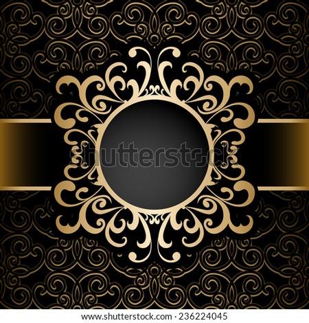 Vintage gold vector background, circle frame, ornamental label over pattern - stock vector