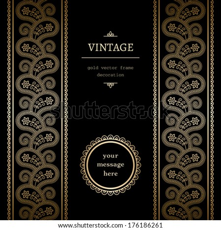 Vintage gold vector background with seamless border ornament and label on black - stock vector