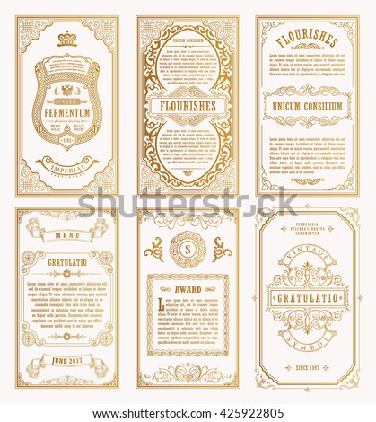Vintage gold vector set retro cards stock vector 425922805 vintage gold vector set retro cards template greeting card wedding invitation line calligraphic frames stopboris Images
