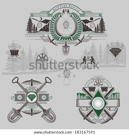 vintage golden and diamond mining engraving labels - stock vector