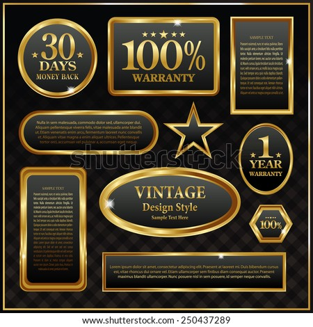 Vintage golden frame banner - stock vector