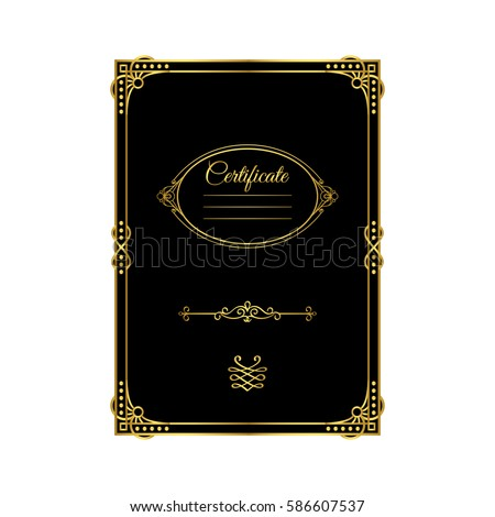 Vintage golden frame certificate template black stock vector hd vintage golden frame certificate template black stock vector hd royalty free 586607537 shutterstock yelopaper Gallery