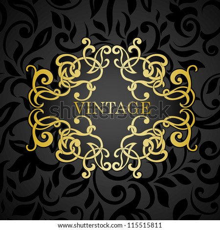 Vintage golden frame on black abstract floral seamless background - stock vector