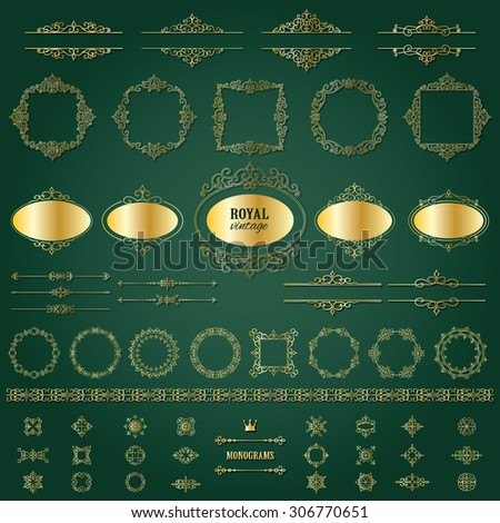 Vintage golden frames, dividers mega set. Calligraphic design elements. - stock vector
