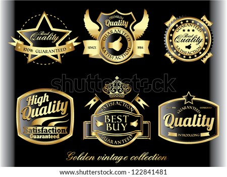 vintage golden royal quality label set - stock vector