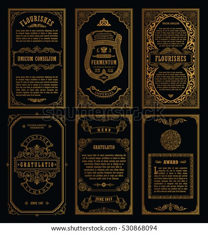 queue cards template - vintage golden vector set retro cards stock vector