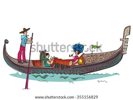 vintage gondola - cartoon - stock vector
