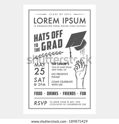 Vintage graduation party invitation card - stock vector