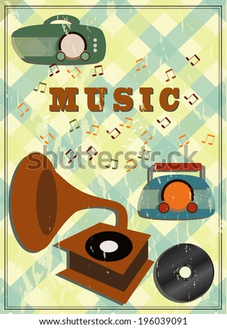 vintage gramophone and radio - stock vector