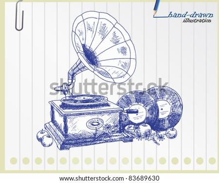 Vintage gramophone - original hand-drawn illustration - stock vector