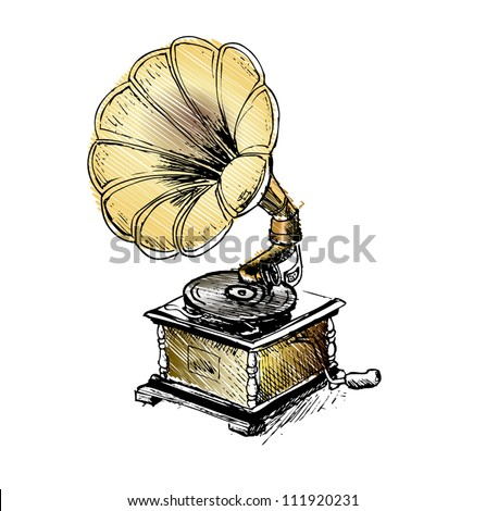 Vintage Gramophone, Record player - stock vector