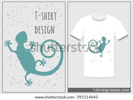 Vintage Graphic T-shirt design/ templates with lizard. Grunge effects can be easily removed for a cleaner look. - stock vector