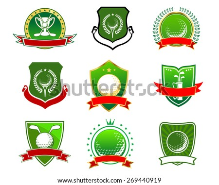 Vintage green golf emblems and logos with crossed clubs, balls and trophy cup on heraldic shields with ribbon banner, laurel wreath, stars, crown