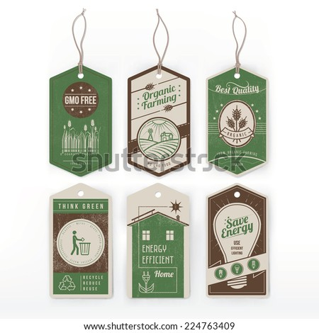 Vintage green labels on environmental conservation, organic food and energy saving. - stock vector