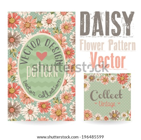 vintage greeting card daisy print design vector pattern - stock vector