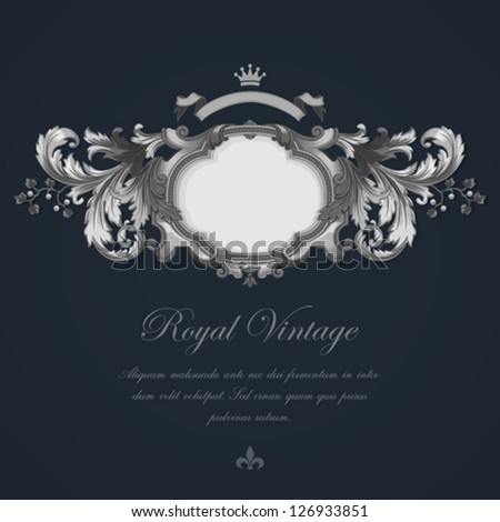Vintage Greeting card design. Silver Vector Template Luxury Wedding invitation template. - stock vector