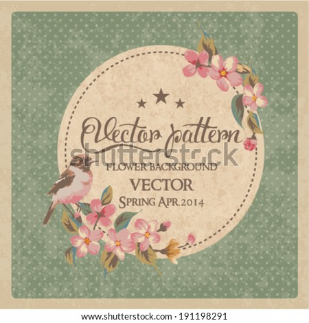 vintage greeting card flower with birds vector pattern  - stock vector