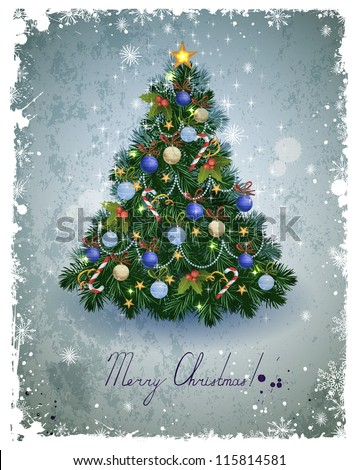 vintage greeting-card with Christmas fir-tree - stock vector