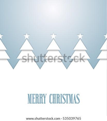 Vintage greeting card with Christmas trees. Vector illustration.