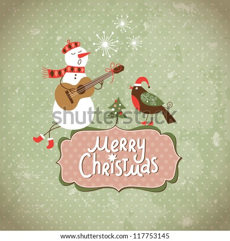 Vintage Greeting Christmas card - stock vector