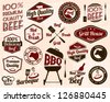 Vintage Grill Badges And Labels - stock vector