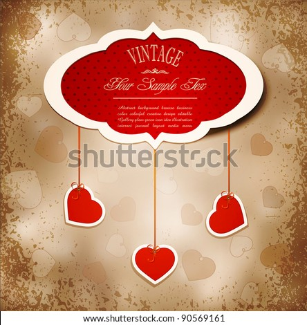Vintage grunge background to a festive Valentine's Day with three dangling hearts - stock vector
