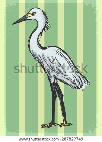 vintage, grunge background with heron