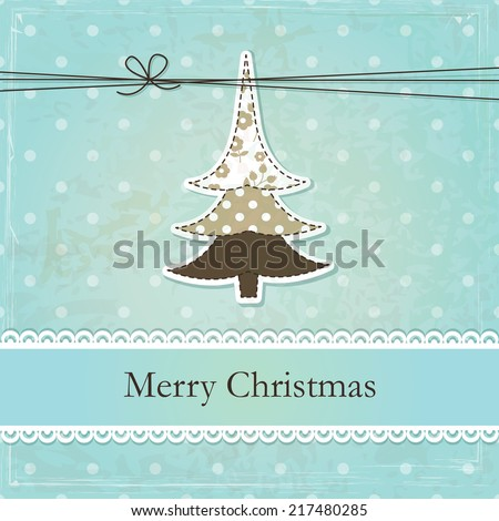 Vintage grunge Christmas background with abstract Christmas Tree - stock vector