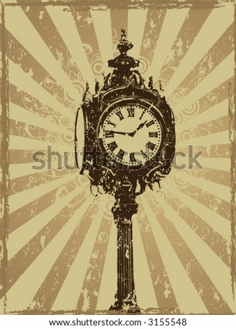 Vintage grunge clock design (ALL VECTOR) - stock vector