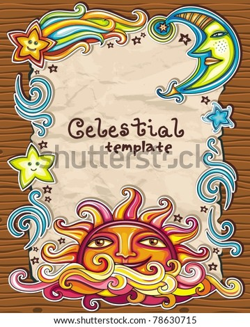 Vintage grunge frame with Celestial symbols: sun, moon, star, comet, with human faces, and cute cloud.  Symbols isolated on wooden background. - stock vector