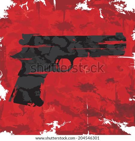 Vintage grunge gun graphic design. Vector illustration - stock vector