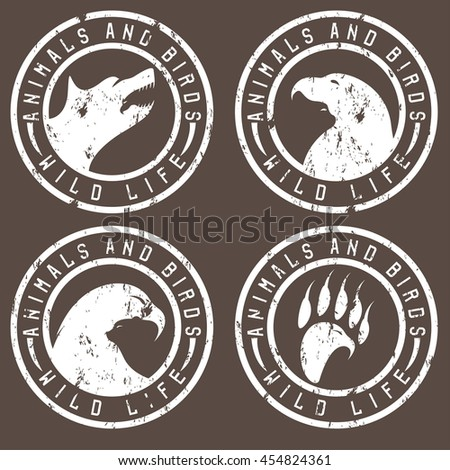 vintage grunge labels with animals and birds negative space concept - stock vector