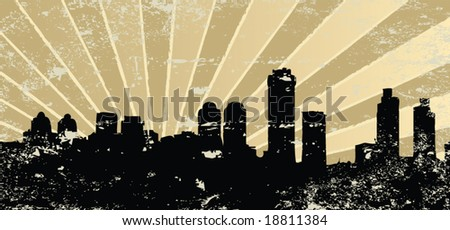 Vintage grunge mosque silhouette vector illustration - stock vector