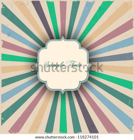 Vintage grunge sunbeams with label. Vector illustration - stock vector