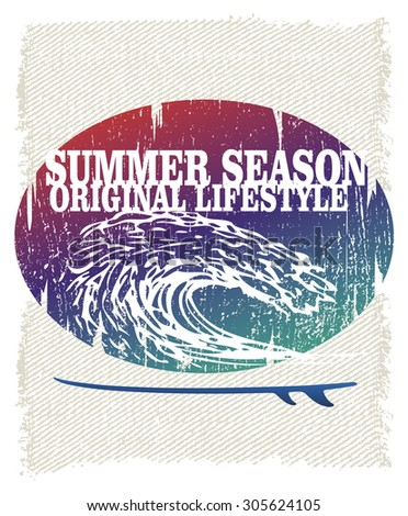 vintage grunge surf poster with pipeline wave - stock vector