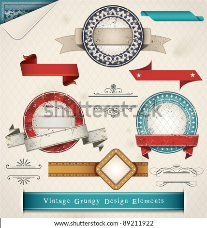 Vintage Grungy Design Elements. Vector Illustration. - stock vector
