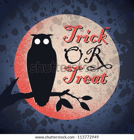 vintage grungy Halloween design with full moon and owl silhouette, vector (eps8) - stock vector