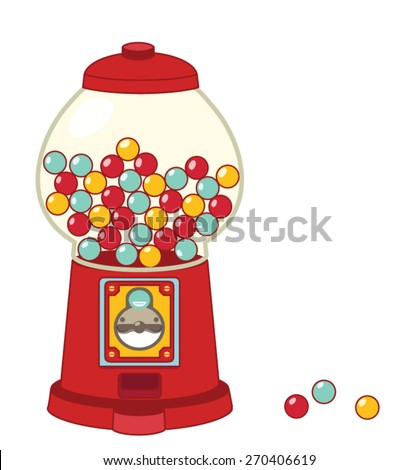 Vintage gumball machine isolated on white  - Vector file EPS10  - stock vector