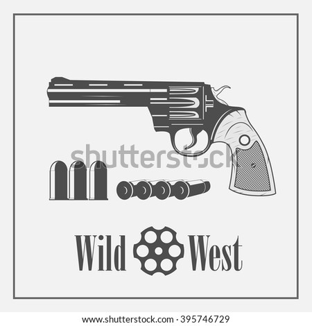 vintage gun icon on the wild west - stock vector