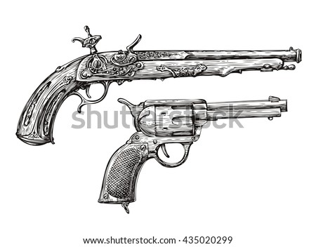 Vintage Gun. Retro Pistol, Musket. Hand-drawn sketch of a Revolver, Weapon, Firearm - stock vector