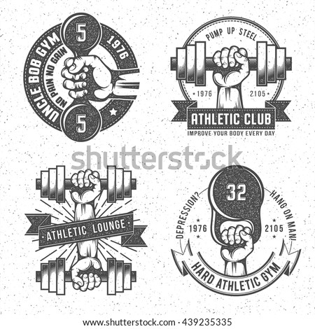 Vintage Gym Crossfit And Fitness Club Emblems With Letterpress Or Rubber Stamp Effect Isolated Vector