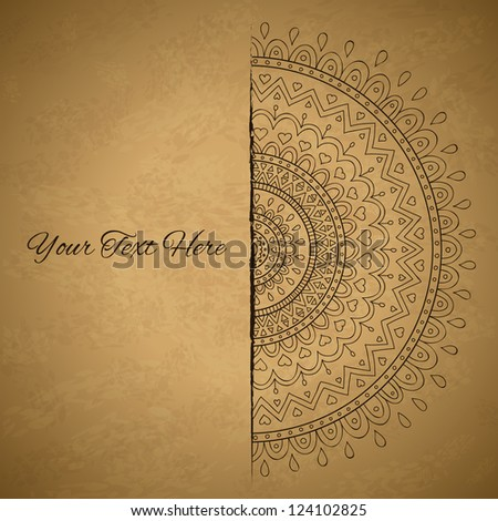 Vintage half of mandala with place for your text. - stock vector