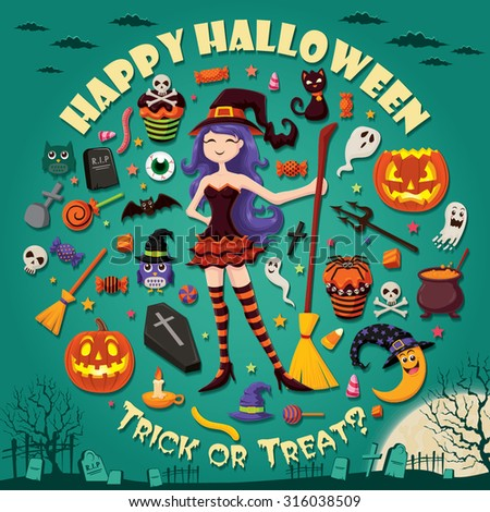 Vintage Halloween design set with witch - stock vector