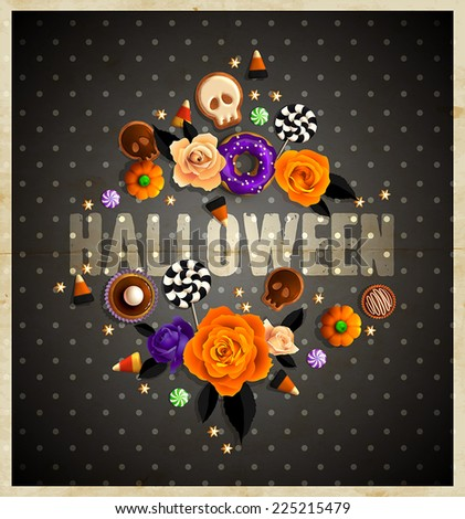 Vintage Halloween frame for your text decorated with sweets treats, roses and golden stars.  - stock vector