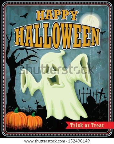 Vintage Halloween ghost poster design - stock vector