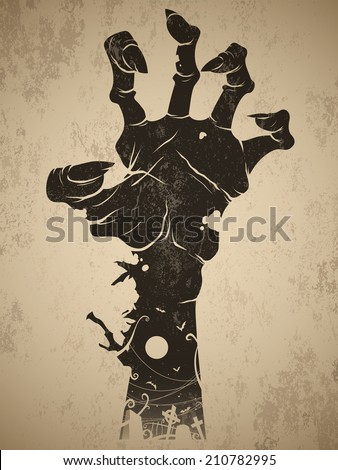 Vintage halloween icon - zombie hand - stock vector