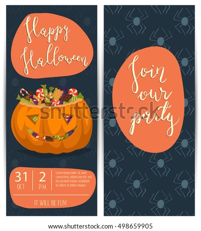 Vintage Halloween party flyers with scary pumpkin head jack full of sweet candies, cartoon vector illustration on blue background. Happy Halloween design template with lettering - Join our party.