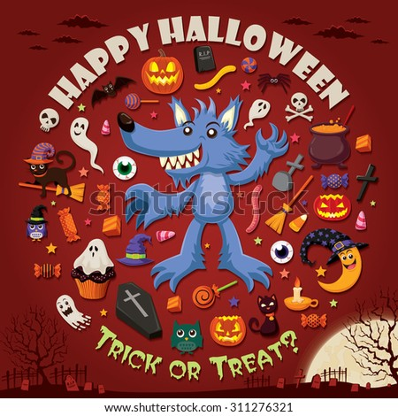 Vintage Halloween poster design set - stock vector